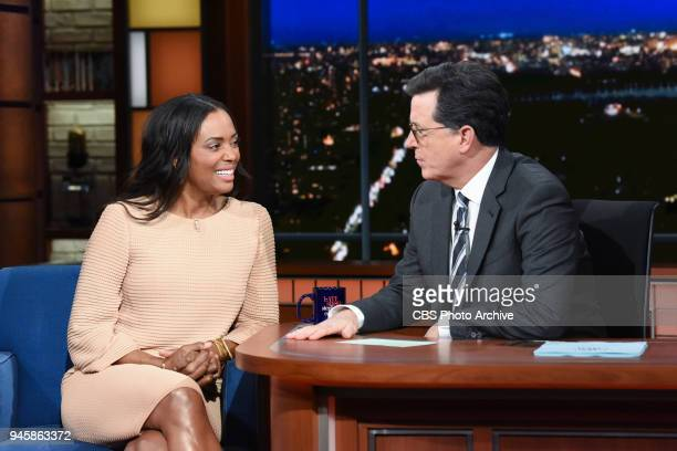 The Late Show with Stephen Colbert and guest Aisha Tyler during Wednesday's April 11 2018 show