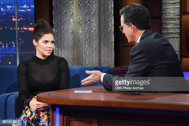 The Late Show with Stephen Colbert and guest America Ferrara during Wednesday's January 3 2018 show