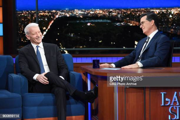 The Late Show with Stephen Colbert and guest Anderson Cooper during Tuesday's January 2 2018 show