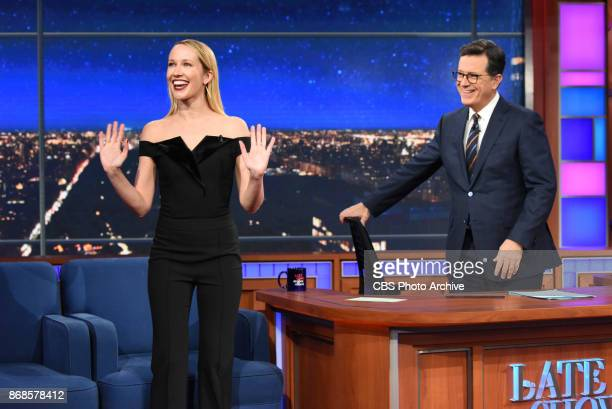 The Late Show with Stephen Colbert and guest Anna Camp during Monday's October 30 2017 show