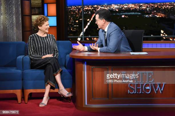 The Late Show with Stephen Colbert and guest Annette Bening during Thursday's May 10 2018 show