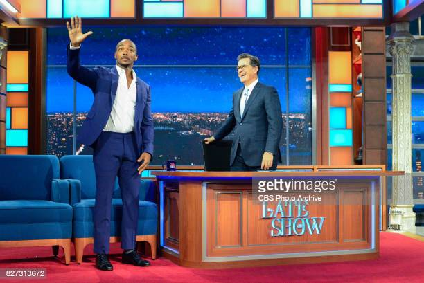 The Late Show with Stephen Colbert and guest Anthony Mackie during Thursday's August 3 2017 show
