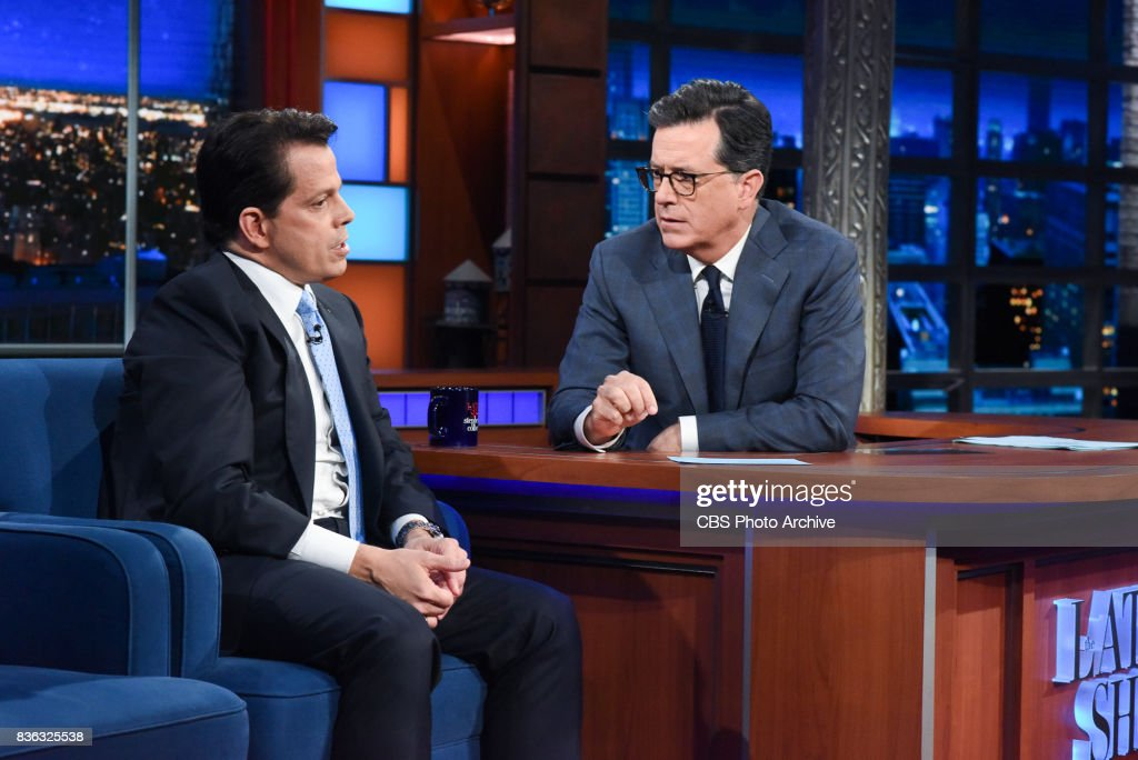 The Late Show with Stephen Colbert and guest Anthony Scaramucci during Monday's August 14, 2017 show.