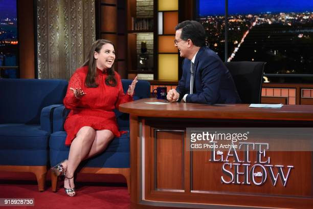 The Late Show with Stephen Colbert and guest Beanie Feldstein during Wednesday's February 7 2018 show