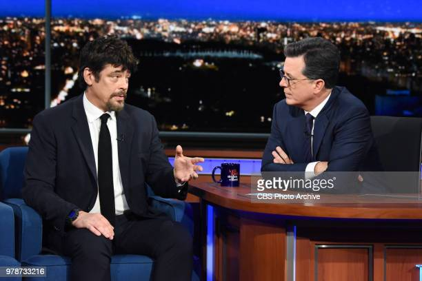 The Late Show with Stephen Colbert and guest Benicio Del Toro during Monday's June 18 2018 show