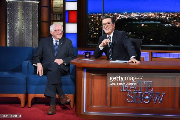 The Late Show with Stephen Colbert and guest Bernie Sanders during Tuesday's August 14 2018 show