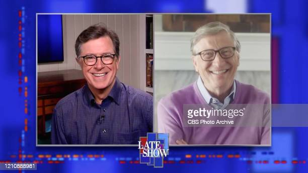 The Late Show with Stephen Colbert and guest Bill Gates during Thursday's April 23 2020 show Image is a screen grab
