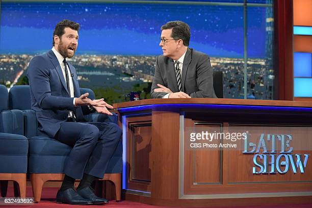 The Late Show with Stephen Colbert and guest Billy Eichner during Tuesday's 01/17/16 show in New York