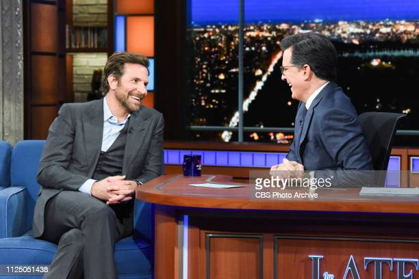 The Late Show with Stephen Colbert and guest Bradley Cooper during Thursday's February 14 2019 show