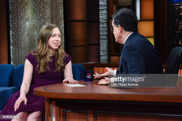 The Late Show with Stephen Colbert and guest Chelsea Clinton during Monday's March 5, 2018 show.