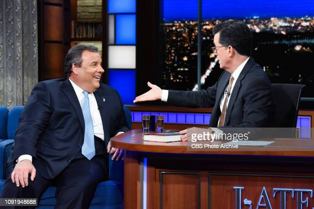 The Late Show with Stephen Colbert and guest Chris Christie during Tuesday's January 29, 2019 show.