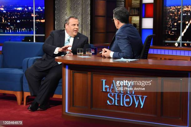 The Late Show with Stephen Colbert and guest Chris Christie during Tuesday's February 25, 2020 show.