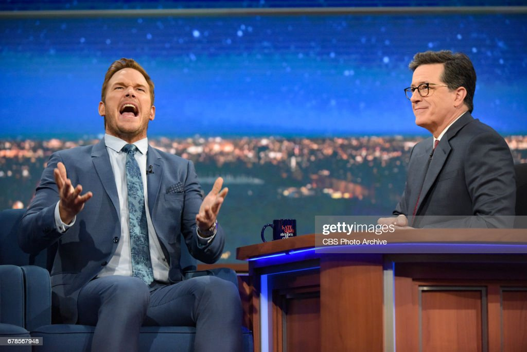 The Late Show with Stephen Colbert and guest Chris Pratt during Monday's 5/1/20 show.