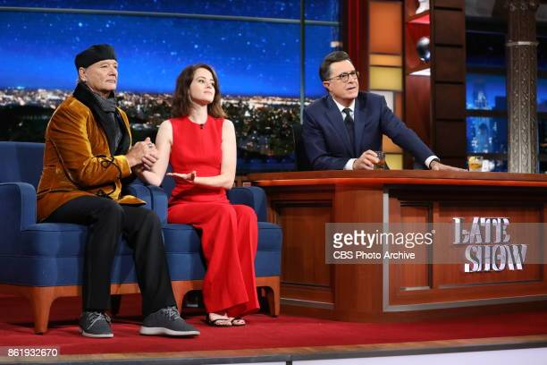 The Late Show with Stephen Colbert and guest Claire Foy and Bill Murray during Thursday's October 12 2017 show