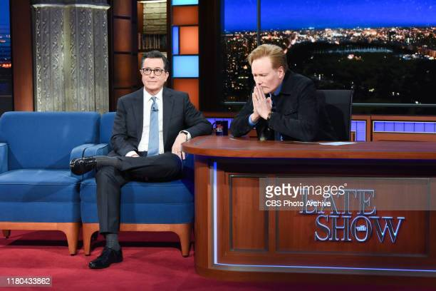 The Late Show with Stephen Colbert and guest Conan O'Brien during Friday's November 1, 2019 show.