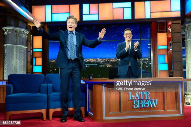The Late Show with Stephen Colbert and guest Conan O'Brien during Friday's October 13 2017 show