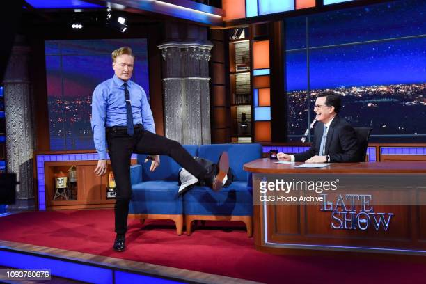 The Late Show with Stephen Colbert and guest Conan O'Brien during Sunday's February 3, 2019 show.