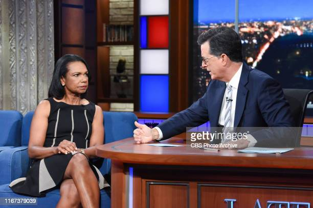 The Late Show with Stephen Colbert and guest Condoleezza Rice during Monday's September 9 2019 show