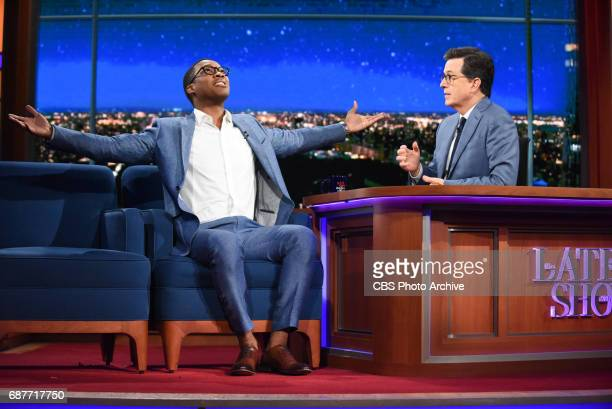 The Late Show with Stephen Colbert and guest Corey Hawkins during Thursday's May 18 2017 show