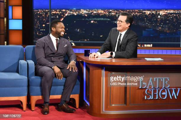 The Late Show with Stephen Colbert and guest Curtis '50 Cent' Jackson during Friday's January 11 2019 show