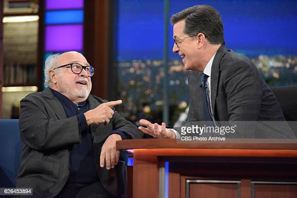 The Late Show with Stephen Colbert and guest Danny DeVito during Wednesday's 11/23/16 show in New York
