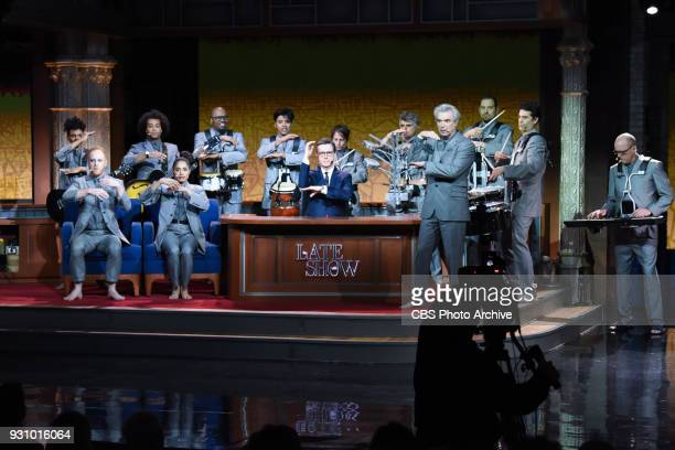 The Late Show with Stephen Colbert and guest David Byrne during Thursday's March 8 2018 show
