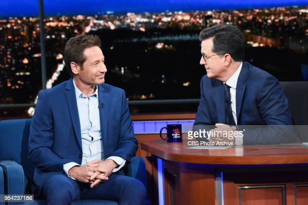 The Late Show with Stephen Colbert and guest David Duchovny during Monday's April 30 2018 show