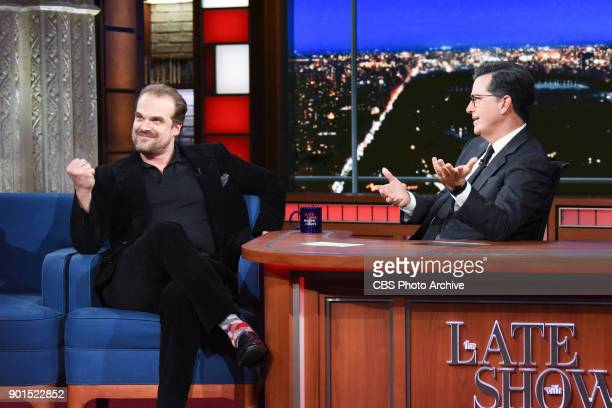 The Late Show with Stephen Colbert and guest David Harbour during Wednesday's January 3 2018 show