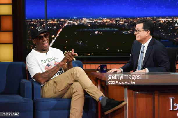The Late Show with Stephen Colbert and guest Dennis Rodman during Wednesday's December 13 2017 show