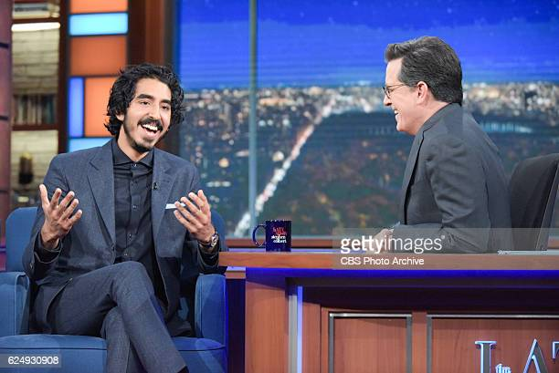 The Late Show with Stephen Colbert and guest Dev Patel during Wednesday's 11/16/16 show in New York