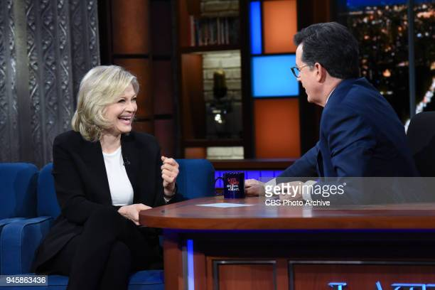 The Late Show with Stephen Colbert and guest Diane Sawyer during Thursday's April 12 2018 show