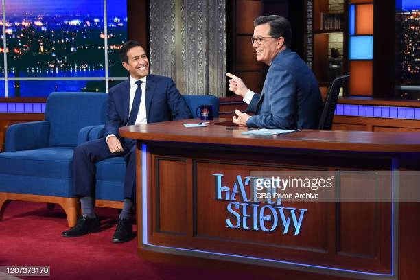 The Late Show with Stephen Colbert and guest Dr Sanjay Gupta during Thursday's March 12 2020 show