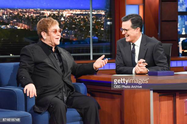 The Late Show with Stephen Colbert and guest Elton John during on November 13 2017 show