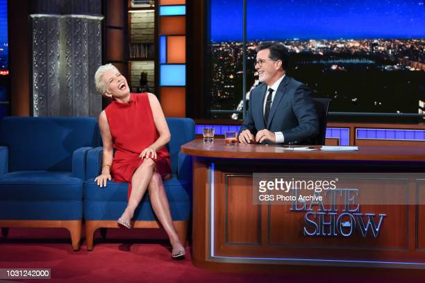 The Late Show with Stephen Colbert and guest Emma Thompson during Thursday's September 6 2018 show