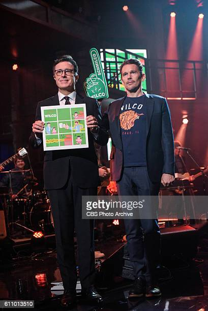 The Late Show with Stephen Colbert and guest Ethan Hawke during Wednesday's 9/21/16 show in New York