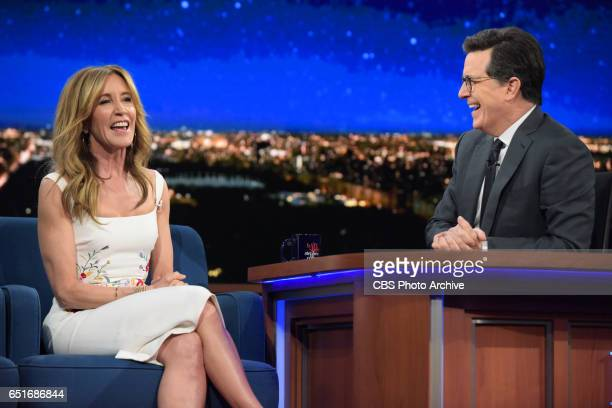 The Late Show with Stephen Colbert and guest Felicity Huffman during Friday's 3/10/17 show in New York