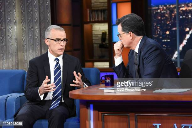 The Late Show with Stephen Colbert and guest Former Deputy Director of the FBI Andrew McCabe during Tuesday's February 19 2019 show