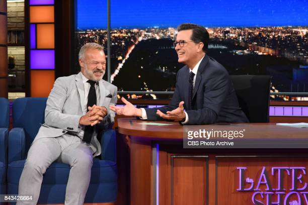The Late Show with Stephen Colbert and guest Graham Norton during Tuesday's September 5 2017 show