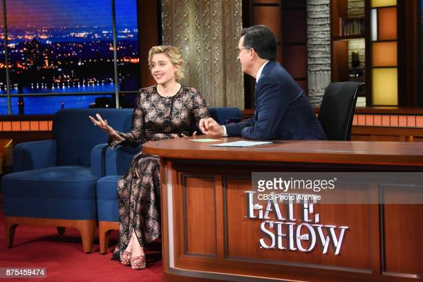 The Late Show with Stephen Colbert and guest Greta Gerwig during Thursday's November 16 2017 show
