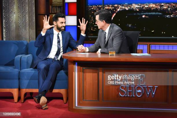 The Late Show with Stephen Colbert and guest Hasan Minhaj during Tuesday's November 6, 2018 live show.