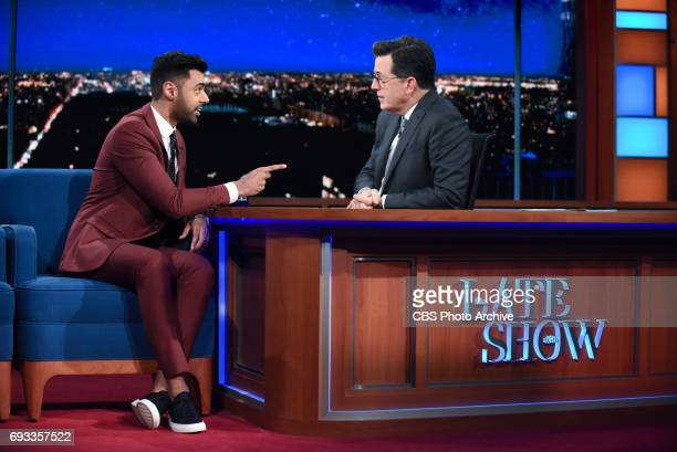 The Late Show with Stephen Colbert and guest Hasan Minhaj during Tuesday's June 6, 2017 show.