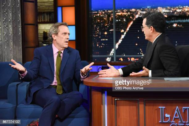 The Late Show with Stephen Colbert and guest Hugh Laurie during Wednesday's October 25 2017 show