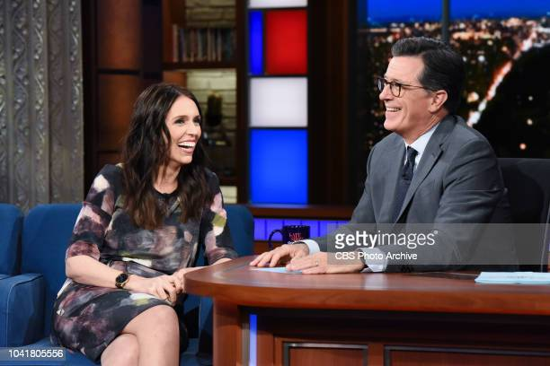 The Late Show with Stephen Colbert and guest Jacinda Ardern during Wednesday's September 26, 2018 show.