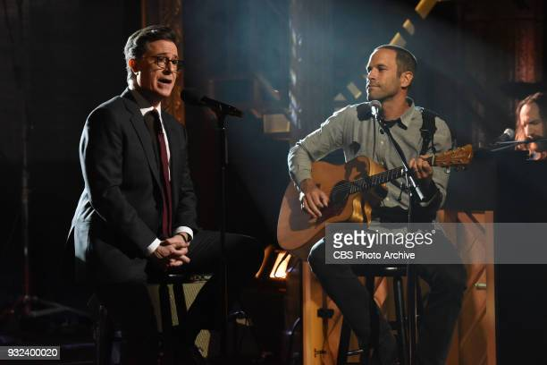 The Late Show with Stephen Colbert and guest Jack Johnson during Tuesday's March 13 2018 show