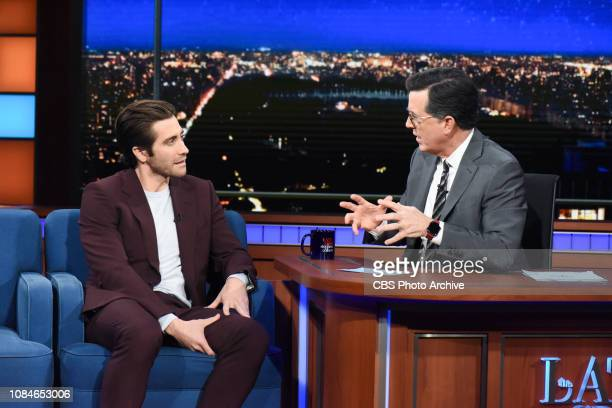The Late Show with Stephen Colbert and guest Jake Gyllenhaal during Wednesday's January 16 2019 show
