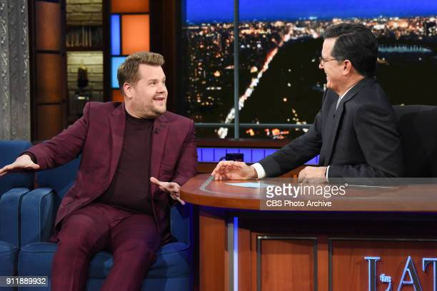 The Late Show with Stephen Colbert and guest James Corden during Monday's January 22 2018 show