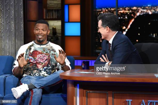 The Late Show with Stephen Colbert and guest Jamie Foxx during Tuesday's May 15 2018 show