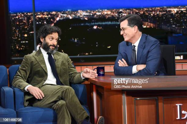 The Late Show with Stephen Colbert and guest Jason Mantzoukas during Tuesday's November 13 2018 live show