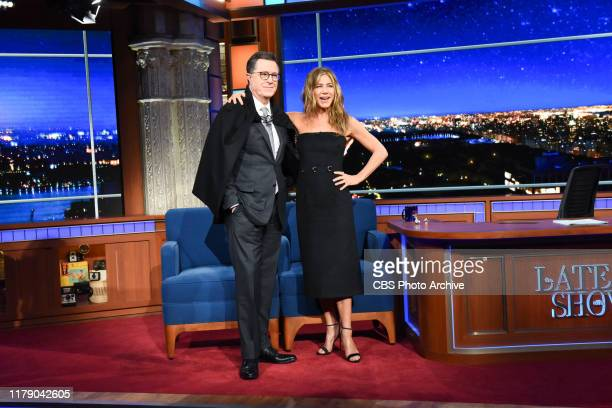 The Late Show with Stephen Colbert and guest Jennifer Aniston during Tuesday's October 29 2019 show