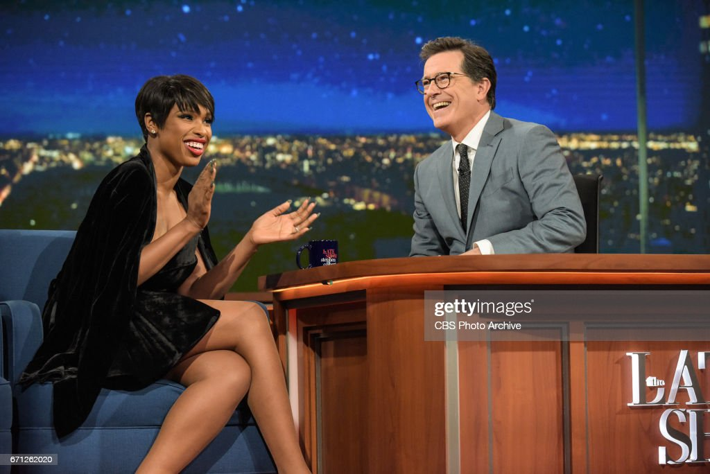The Late Show with Stephen Colbert and guest Jennifer Hudson during Monday's 04/17/17 show in New York.